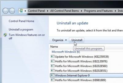 Uninstall Internet Explorer 9 Win 7