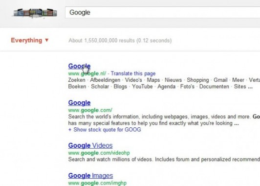 Google interface experiment with search options Everything (closed)