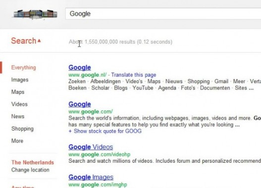 Google interface experiment with search options Everything (open)